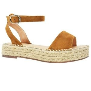New Tan Color Jenea Woven Espadrille Platform